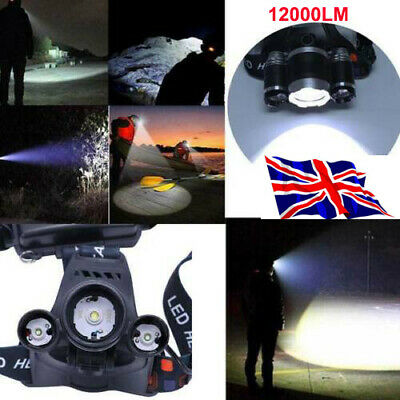 3 x XML CREE T6 LED Rechargeable Head Torch Headlamp Light Lamp 12000LM UKAN