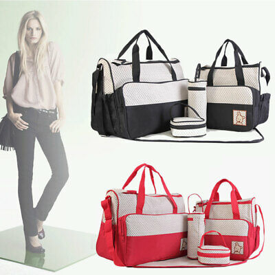 5Pcs Baby Nappy Changing Bag Set Shoulder Handbag Diaper Bags Mommy Bag Travel