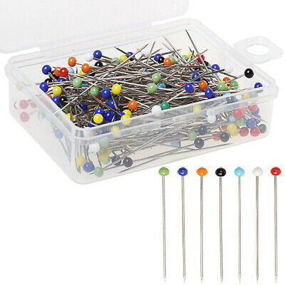 100X Coloured Plastic Round Pearl Head Pins Value Pack Dressmaker Tailor Craft