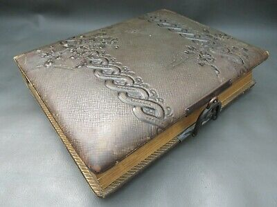 Antique Victorian leather bound photograph album with 30 old photographs