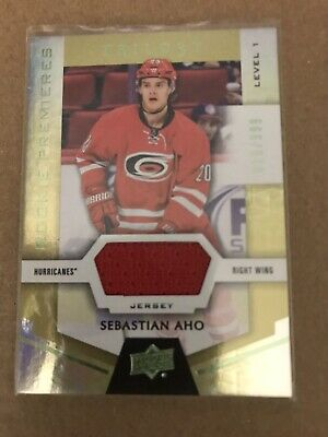 2016-17 UD Trilo3y Rookie Premieres Game Used Jersey Sebastian Aho Level 1 /399
