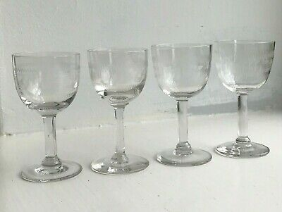 Near Set Of 4 Antique Etched Wine Glasses Liqueur Sherry Port Clear Glass