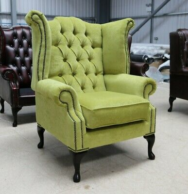 Georgian Chesterfield Queen Anne Buttoned High Back Wing Chair Zest Green Fabric
