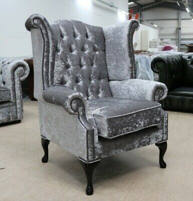 Georgian Chesterfield Queen Anne High Back Wing Chair Silver Grey Velvet