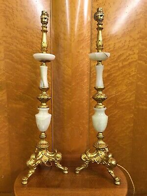 Pair of Large Vintage French Gilt Metal & Onyx Table Lamps