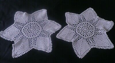 PAIR of LARGE VINTAGE CROCHET LACE  DOILIES in BEIGE - 13""