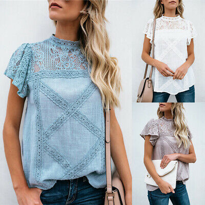 Women's Floral Lace Hollow Out Short Sleeve T-Shirt Cotton Tops Blouse Pullover
