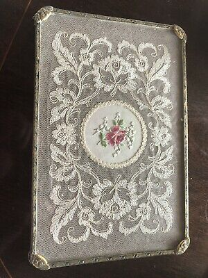 Chic Rose Vintage Brass Petit Point Vanity Table Tray With Filigree Detail