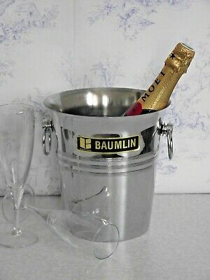 French BAUMLIN Swing Handle Silver Metal Champagne/Wine Cooler Ice bucket 1309