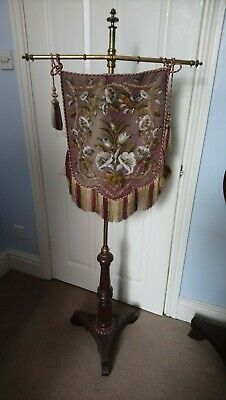Antique Victorian Pole Screen, Flag, Embroidery, Beadwork