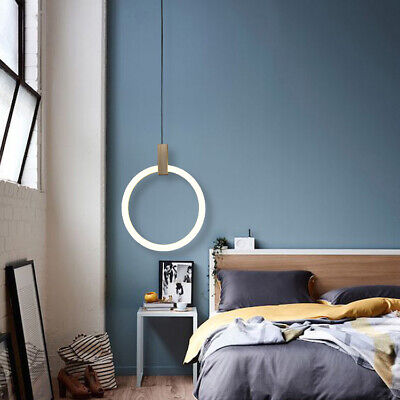 Modern 10W LED Ring Acrylic Diffuser Wood Ceiling Pendant Light Bedroom Fixture
