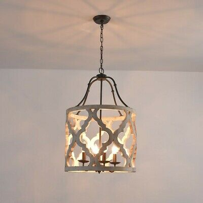 Farmhouse Style Distressed White Carved Wood 4-Light Lantern Chandelier in Rust
