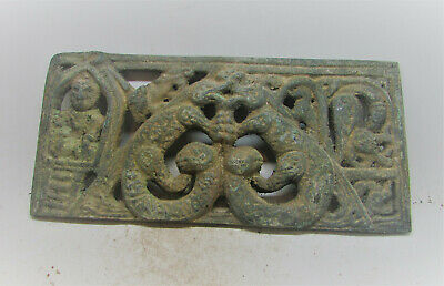 Ancient Gandharan Bronze Plaque Relief Depiction Of Beasts And Buddha