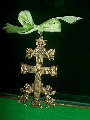 Rare Large Cross Ancient CARAVACA  bronze/brass with Angels (saint ?).