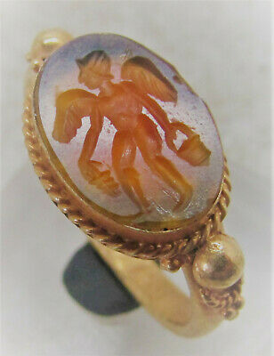 Beautiful Ancient Roman High Carat Gold Ring Carnelian Intaglio Of Winged Apollo