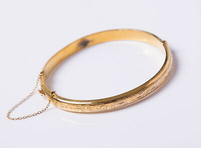 Vintage Retro C1940s 9ct Yellow Gold Chester Joseph Smith Bangle