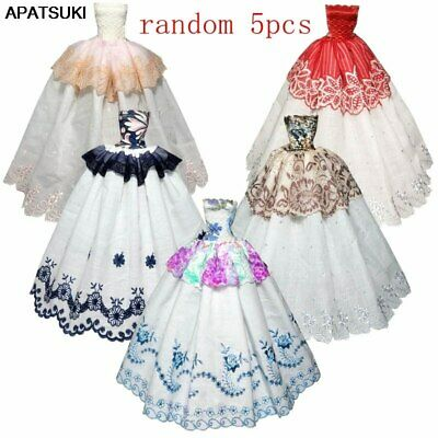"""5pcs/lot Random Fashion Girl Doll Clothes For 11.5"""" Doll Dress Party Gown 1/6"""