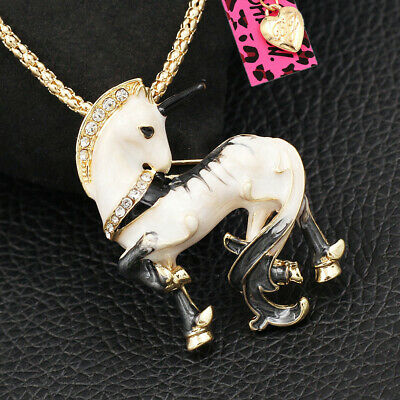 Women's Cute Horse Unicorn Charm Pendant Betsey Johnson Necklace/Brooch Pin