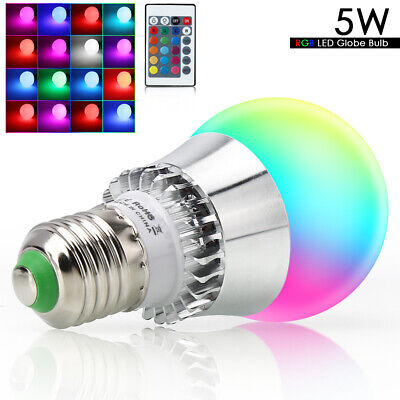 E26 5W RGB LED Light Bulb Multi Color Change Magic Memory Lamp+IR Remote Control