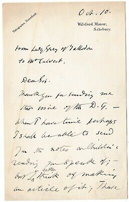 Pamela Wyndham - Viscountess Grey of Fallodon - letter re the nose in literature