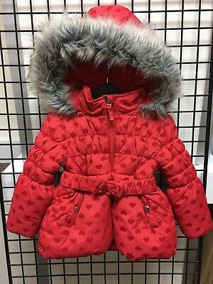 Girls gorgeous Red Hooded Padded Coat age 12-18mts ex BHS BNWT £24