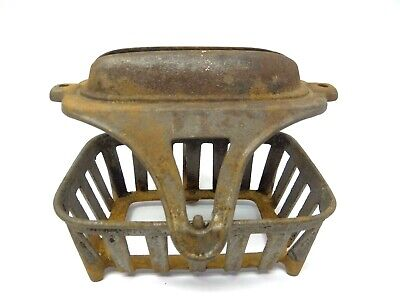 Antique Metal Cast Iron Oil Fount Burner Chamber Cage Handheld Housing Part Old