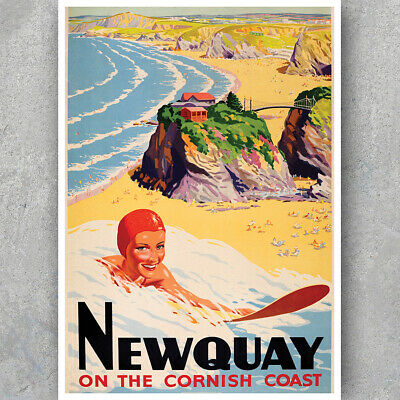 A3 A6 Vintage Travel Poster - SURF NEWQUAY CORNWALL - Seaside Retro HQ Print