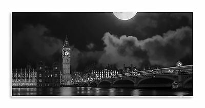 Big Ben London Skyline River Black and White Panorama Canvas Wall Art Home Decor
