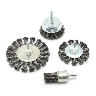 4Pc Twist Knot Wire Wheel Cup Pen Brush Set For Drill 6mm Shank Steel Wire Brush