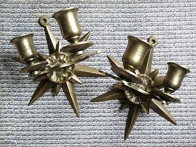 Vintage Art Deco Double Candle Star Design Brass Wall Sconce Pair