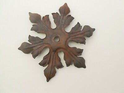 Antique French Large Cast Iron Leaf Canopy Chandelier Ceiling Hanging Light