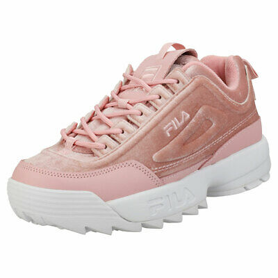 859ecd3c71 Fila Disruptor Ii Premium Velour Womens Pink Leather & Textile Fashion  Trainers