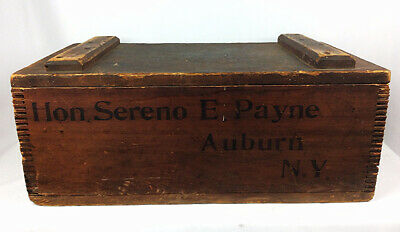 Antique wooden strong box Sereno E Payne 1st leader House of Representatives