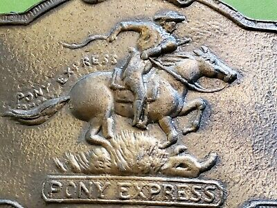Vintage 1902 Pony Express Company Since 1852 Brass Belt Buckle style