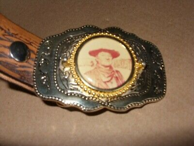 "john wayne brass buckle and belt, eagle decoration 42"" from usa in vgc."