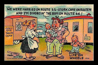 Us Linen Humor Postcard Woman With Children In Trailer Camp