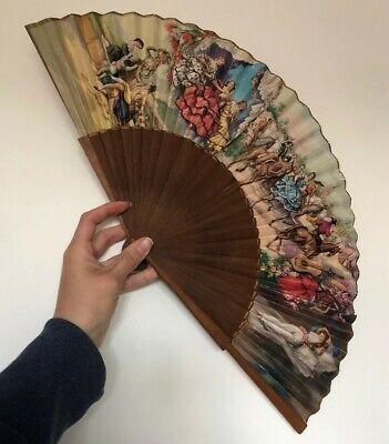 Vintage 1950s Spanish Collectable Casa De Diego Hand Fan Wood & Paper
