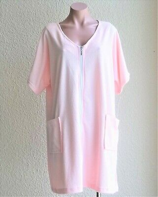 ecffe9bac6 Cotton /Poly Short Sleeve Zip Up Terry Cloth Cover Up / Robe w/ Pockets