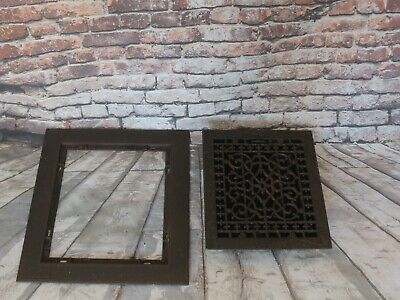 "ANTIQUE VICTORIAN CAST IRON FLOOR GRILLE 18""x 16"" HEAT GRATE REGISTER w/ LOUVERS"