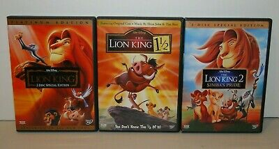 Walt Disney DVD Lot The Lion King, The Lion King 2 & The Lion King 1 1/2