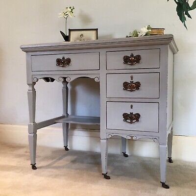 Antique Grey Painted Edwardian Desk Shabby Chic French Style Dressing Table