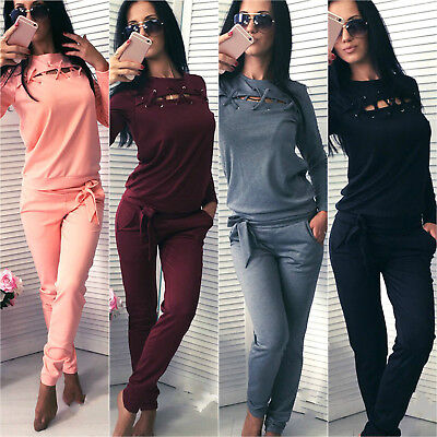 Womens 2PCS Lace Up Tracksuit Set Lounge Wear Sweatshirt Tops Pants Sports Suit
