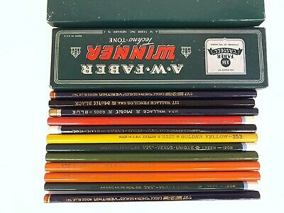 12 various vintage colored pencils Wallace Eagle Dixon and Venus collecting