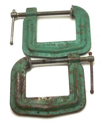 """2 Vintage Cin-Craft 2 1/2"""" x 2 1/2"""" C-Clamp No 300 Made in USA Used"""