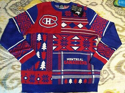 new concept a827b bb494 NWT MENS MONTREAL Canadiens Christmas Sweater Size Xlarge NHL Apparel Klew  New