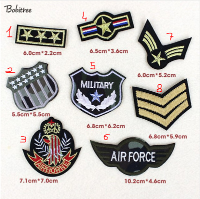 patch toppa Gradi Stelle Military Esercito Army AirForce AirBorne termoadesiva