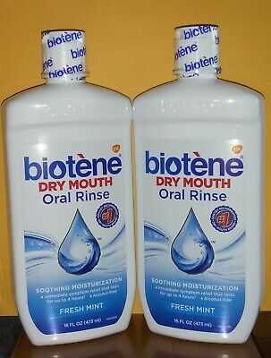 2 Biotene Dry Mouth Oral Rinse, Fresh Mint 16 oz LARGE- NEW & SEALED