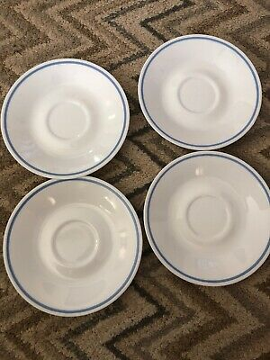 1- Corelle Heather Blue Stripe Saucer Plate Dish 4 Available