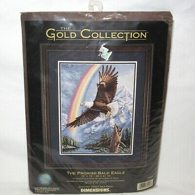 2000 Dimensions Gold Collection THE PROMISE BALD EAGLE Cross Stitch Kit Rainbow