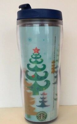 Starbucks Travel Tumbler 2006 Christmas Hologram Blue Multicolor 16 Oz Twist Lid